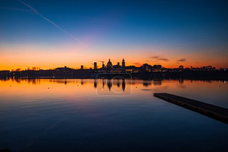 Late dusk over the suggestive city of Mantua (Lomb...