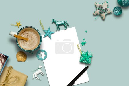 empty Christmas card, collection, hot chocolate and decorative o