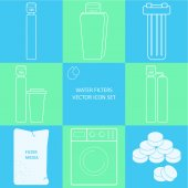 Outline tap water filter icon set Drink and home water purification filters Different tap  filtration systems for water treatment Vector icon set Point of entry water filters