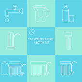 Outline tap water filter icon set Drink and home water purification filters Different tap water filtration systems for water treatment Vector water filter icon set Point of use water filters