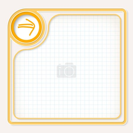 Yellow text frame for your text with graph paper and hand writte