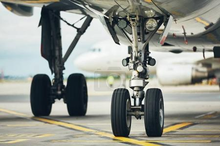 Wheels of the airplane