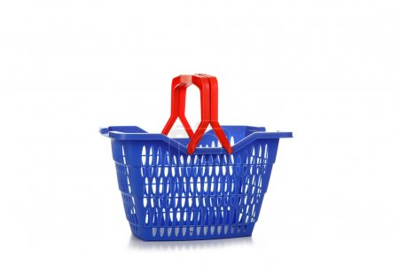 A studio shot of an empty shopping basket isolated on white back