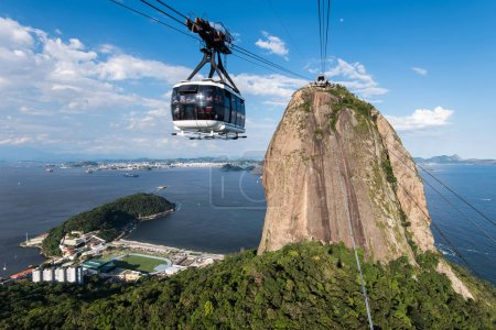 Photo for Sugarloaf Mountain with the Cable Car in Rio de Janeiro - Royalty Free Image