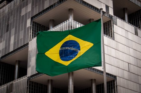 Brazilian Flag With Building