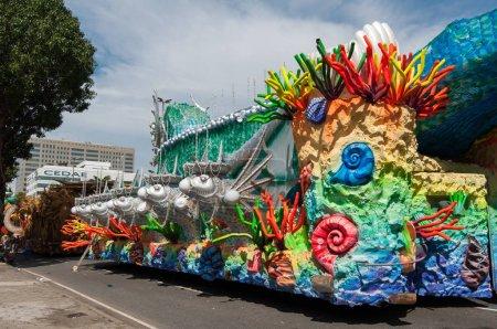 Samba school vehicle parked in Rio de Janeiro