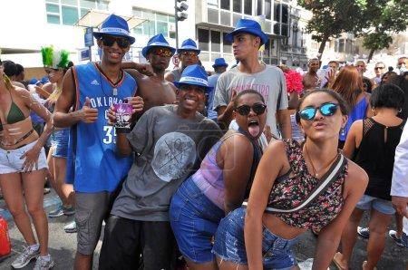 Happy Brazilian people celebrate carnival