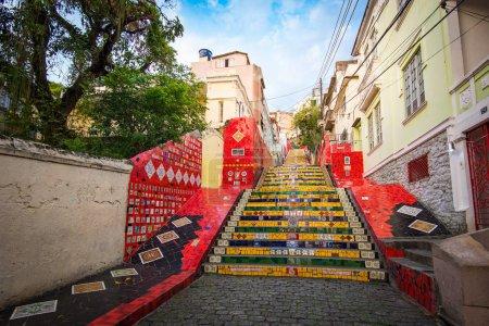 Escadaria Selaron in Rio de Janeiro, Brazil. Escadaria Selaron is a set of world-famous steps decorated with blue, green and yellow tiles, the colours of the Brazilian flag.