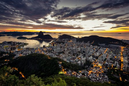 Panoramic view of Rio de Janeiro City at night time