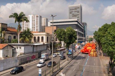 Rio de Janeiro, Brazil - February 17, 2018: Samba school float in Presidente Vargas avenue on parade