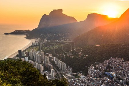 Panoramic View of Rocinha, the Largest Favela in Rio de Janeiro City, by Evening Light