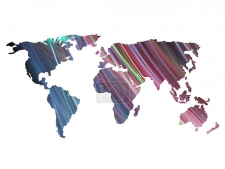color world map silhouettes of abstract lighting lights
