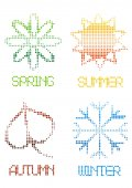 Bright color halftone four seasons icons isolated on white background