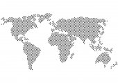 Color halftone vector world map silhouette isolated on white background