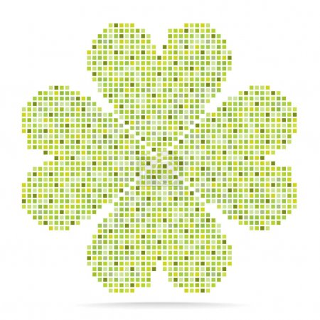 bright green quatrefoil of mosaic tiles isolated on white background