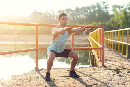 Fit man exercising outdoors