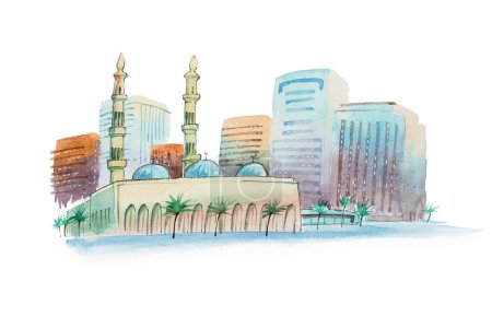 Aquarelle cityscape with mosque