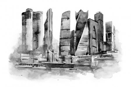 watercolor drawing of Moscow city