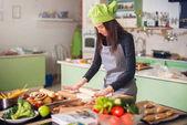 Female baker making pastry
