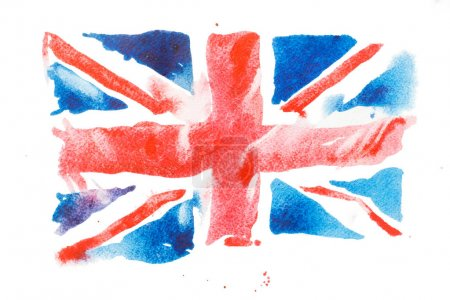Photo pour Drapeau britannique aquarelle. Royaume-Uni. Illustration de dessinés à la main - image libre de droit
