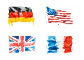 Flags of USA, Great Britain, France, Germany