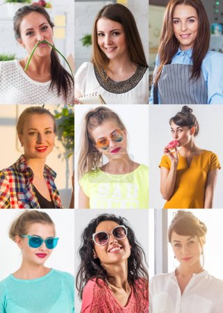 Photo for Collection of different many happy smiling young people faces caucasian women and men. Concept business, avatar - Royalty Free Image