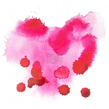 Foto de Abstracto acuarela aquarelle mano dibujados formas coloridas manchas de salpicadura de arte rojo color sangre o pintura. - Imagen libre de derechos