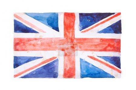 British flag. United Kingdom. Watercolour hand drawn illustration.