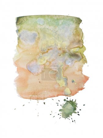 Photo for Watercolor aquarelle hand drawn color shape art paint splatter stain. - Royalty Free Image