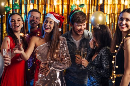 Photo for New Year. Group of people celebrating Christmas party - Royalty Free Image