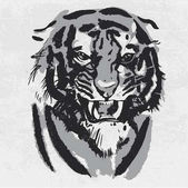 Watercolor drawing of angry looking tiger Animal portrait on white background
