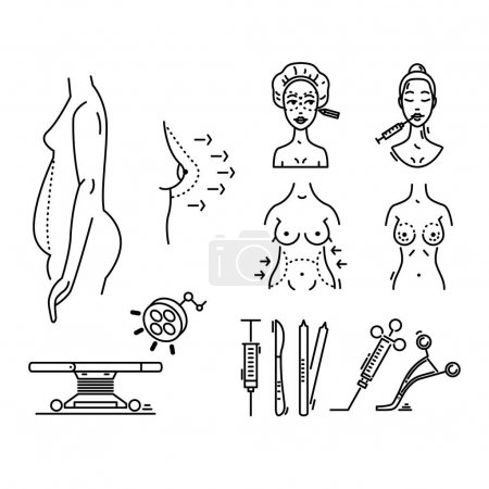 Illustration for Line icons plastic surgery, aesthetic medicine, cosmetic procedure - Royalty Free Image