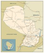 Highly detailed road map of Paraguay with roads railroads and water objects