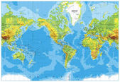 America Centered Physical World Map
