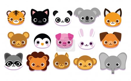 Illustration for Vector Set Of Cute Cartoon Animals Isolated - Royalty Free Image