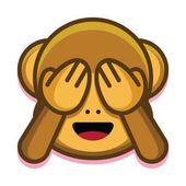 Cartoon Cute Monkey Face Isolated On White Background