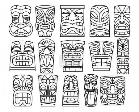 Illustration pour Ensemble vectoriel de différentes idoles Tiki isolées sur fond blanc - image libre de droit