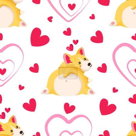 Illustration for Cute cartoon Welsh Corgi Terrier puppy - Valentine Day seamless pattern, kawaii dog or animal, pink hearts om white - vector romantic background, endless texture for wrapping, textile, fabric print - Royalty Free Image