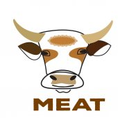 Line art happy caw isolated Logo print cover for meat package