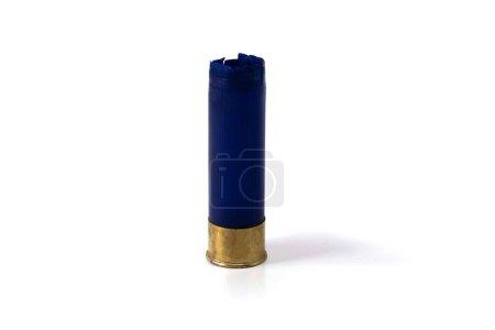 Photo pour Casings shotgun cartridges blue isolated on white background - image libre de droit