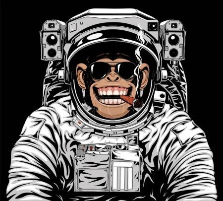 Illustration pour Illustration vectorielle d'un drôle de chimpanzé en costume d'astronaute, fumant une ciga - image libre de droit