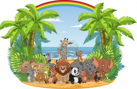 Illustration for Vector illustration of a set of funny exotic animals in the wild in the jungle - Royalty Free Image