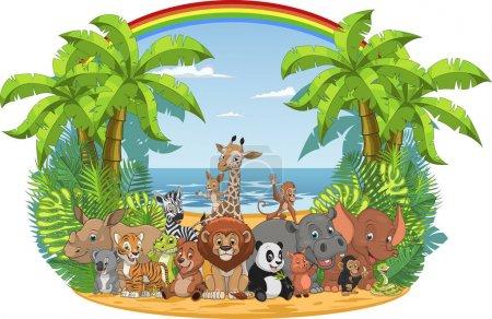 Illustration pour Illustration vectorielle d'une série de drôles animaux exotiques à l'état sauvage dans la jungle - image libre de droit