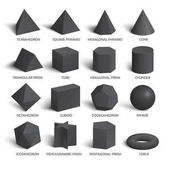 All basic 3d shapes template in dark