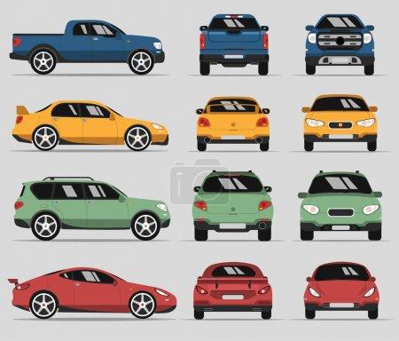 Illustration pour Type de voiture et modèle d'objets icônes Set. Illustration vectorielle isolée sur fond blanc. Variantes de silhouette de carrosserie automobile pour toile. Côté, devant, vue arrière - image libre de droit