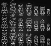 Chalkboard Collection of Diverse Stick Figure Superheroes or Superhero Families - Vector Format