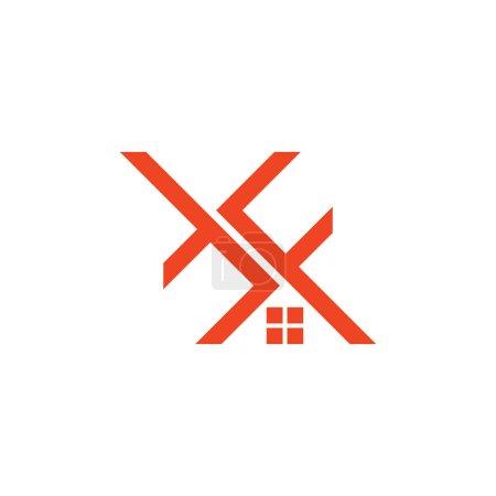Illustration pour Lettre f t maison forme logo vecteur - image libre de droit