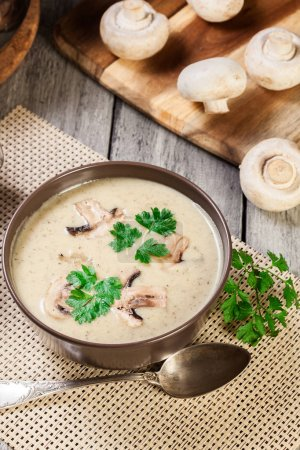 Mushroom cream soup with herbs and spices
