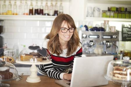 owner using laptop