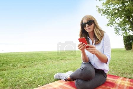 Woman with her cell phone